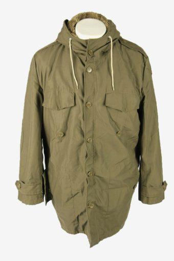 Vintage Army Military  Parka Coat Jacket German Flag Hooded Khaki Size XL