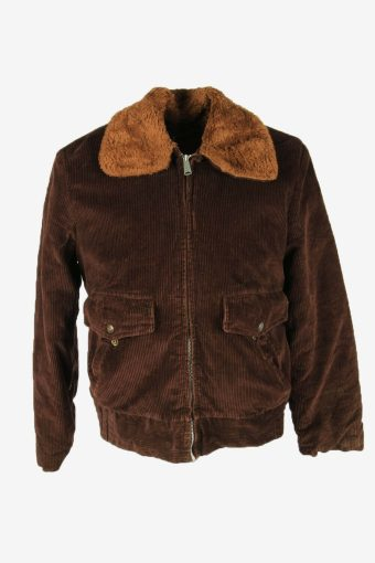Vintage Corduroy Coat Jacket Fur Lined Pockets Casual 90s Brown Size S