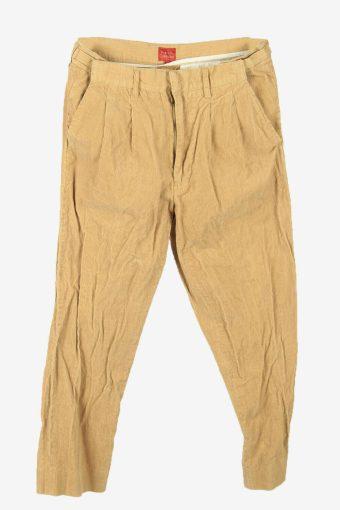 Vintage Corduroy Cord Trousers Slim Fit Smart 90s Camel Size W30 L27