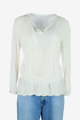 Vintage Embroidered Blouse Boho Indian Tunic Kaftan Smock White Size M