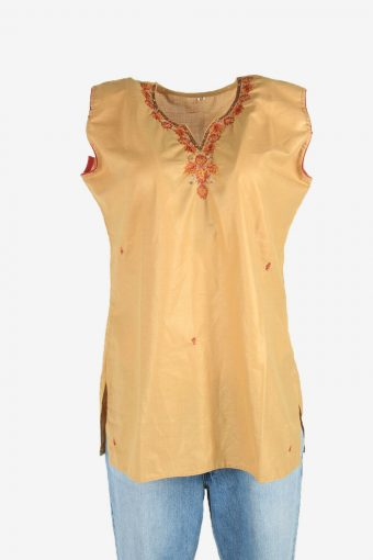 Vintage Embroidered Hippie Gypsy Blouse Tunic Top Kaftan Beige Size L