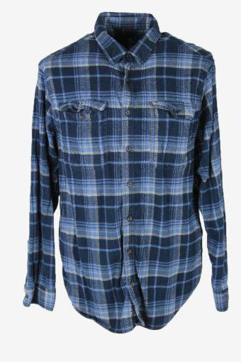 Vintage Flannel Shirt Check Long Sleeve Button 90s Cotton Blue Size XXL – SH4225