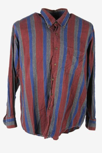 Vintage Flannel Shirt Striped Long Sleeve Button 90s Cotton Multi Size XL