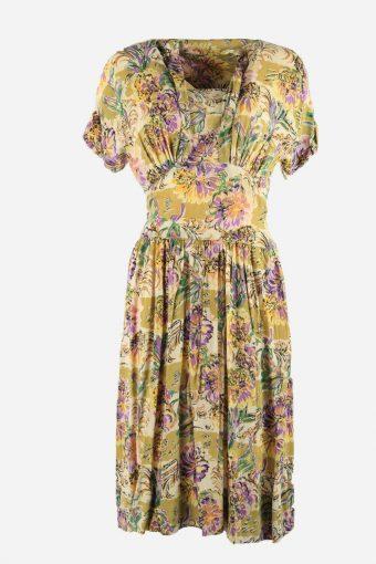 Vintage Floral Dress Short Sleeve Scoop Neck Midi Women Multi Size S