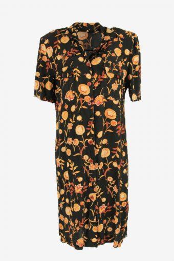 Vintage Floral Maxi Dress Short Sleeve Collared Retro Black Size XL