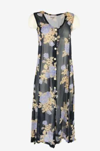 Vintage Floral Midi Dress Sleeveless V Neck 80s Retrp Navy Size S