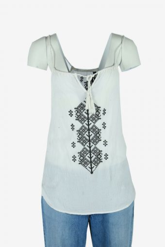 Vintage Hippie Gypsy Embroidered Blouse Indian Top Kaftan White Size L