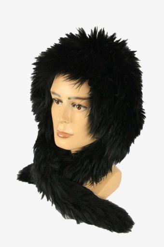 Vintage Russian Style Fur Hat Earflaps Winter Warm Black Size 32 cm