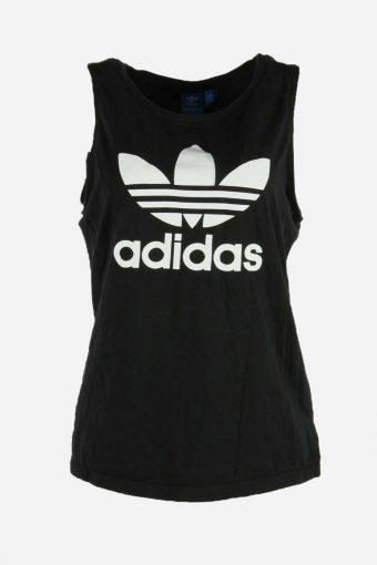 Women Adidas T-Shirt Tee Sleeveless Crew Neck Sports Retro Black Size M