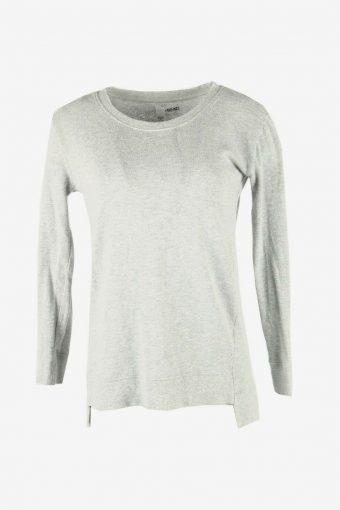 90s Sweatshirt Plain Vintage Pullover Sports Retro Grey Size S