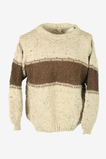 Aran Cable Knit Wool Jumper Vintage Crew Neck Pullover 90s Multi Size L