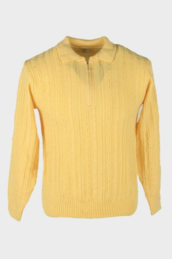 Cable Knit Jumper Vintage Collared Neck Pullover 90s Yellow Size S