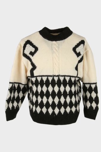 Cable Knit Wool Jumper Vintage Crew Neck Pullover 90s Multi Size M
