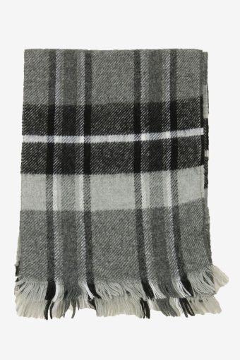 Check Tartan Scarf Vintage Soft Tassel Plaid Warm 90s Retro Grey