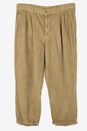 Corduroy Cord Trousers Vintage Oversize Smart Beige Size W38 L28