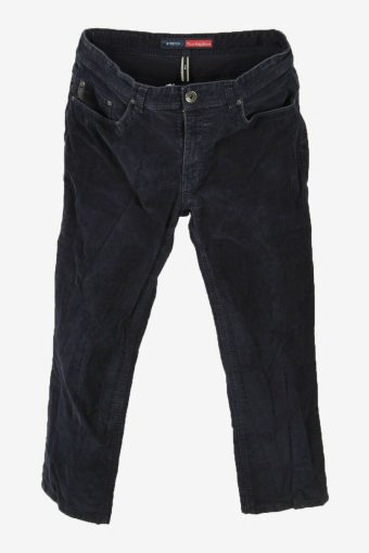 Corduroy Cord Trousers Vintage Stretch Fit Casual Navy Size W34 L28
