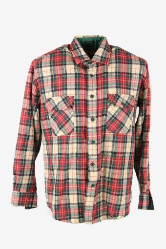 Flannel Shirt Vintage Check Long Sleeve Button 90s Cotton Multi Size L – SH4253
