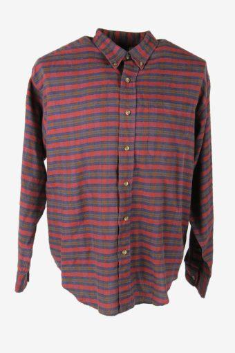 Flannel Shirt Vintage Striped Long Sleeve Button 90s Cotton Multi Size M SH4247