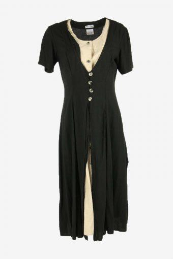 Flowers  Print Dress Midi Dress Short Sleeve Scoop Neck Black Size L