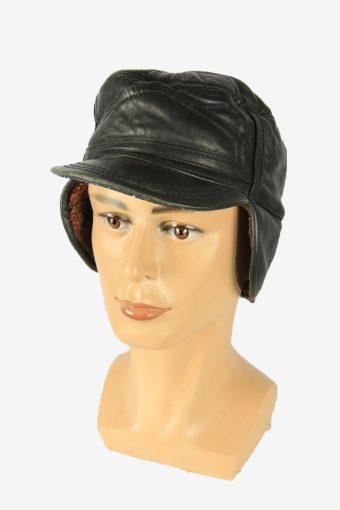 Fur Leather Cap Hat Vintage Earflaps Ski Cossack 90s Black Size 58 cm