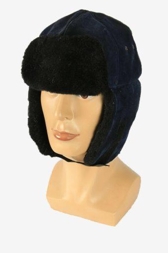 Fur Suede Cap Hat Vintage Earflaps Ski Cossack 90s Navy Size 56 cm