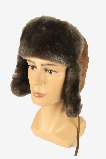 Fur Ushanka Hat Vintage Earflaps Ski Cossack 90s Brown Size 56 cm