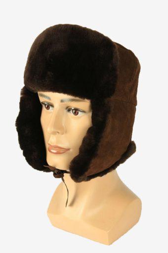 Fur Ushanka Hat Vintage Earflaps Ski Cossack 90s Brown Size 57 cm
