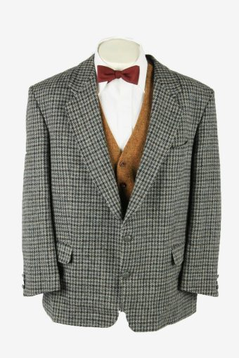 Harris Tweed Vintage Blazer Jacket Check Country Weave Grey Size XL