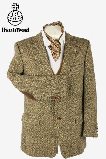 Harris Tweed Vintage Blazer Jacket Elbowpatch Weave 90s Brown Size L