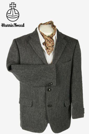 Harris Tweed Vintage Blazer Jacket Herringbone Weave Grey Size L