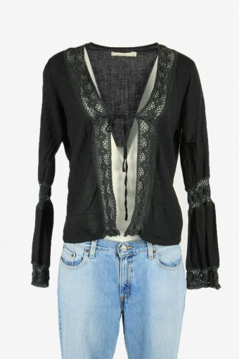 Hippie Gypsy Embroidered Blouse Tunic Top Vintage Kaftan Black Size L