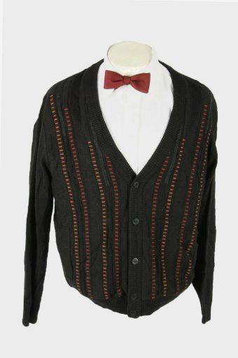 Knit Cardigan Vintage V Neck Pocket Cosby Button Up 90s Black Size L
