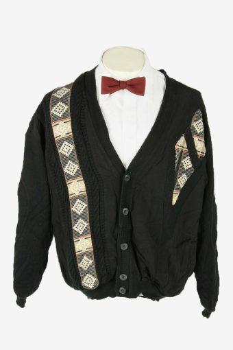 Knit Cardigan Vintage V Neck Pocket Cosby Button Up 90s Black Size XL