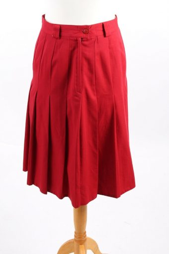 Mid Length Skirt Lined High Waist Smart Pleated Vintage Red