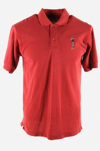 Polo Shirts Men Hugo Boss Pique Golf  T-shirt Casual 90s Red Size XL
