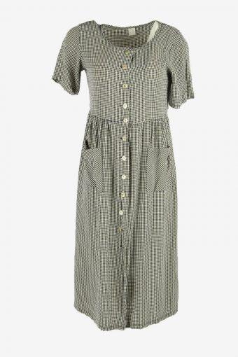 Short Sleeve Check Midi Dress Vintage Round Neck Retro Multi Size M