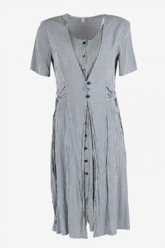 Short Sleeve Check Midi Dress Vintage V Neck 90s Retro Multi Size L