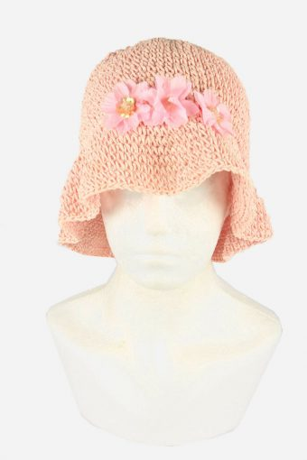 Straw Style Hat Brimmed Summer Bowknot 90s Retro Pink Size 54 cm