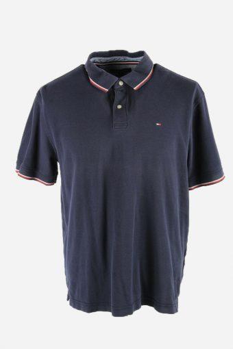 Tommy Hilfiger Polo Shirts Short Sleeve Top Vintage 90s Men Navy Size XL