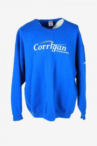 Vintage 90s Sweatshirt Printed Pullover Sports Retro Blue Size XXL