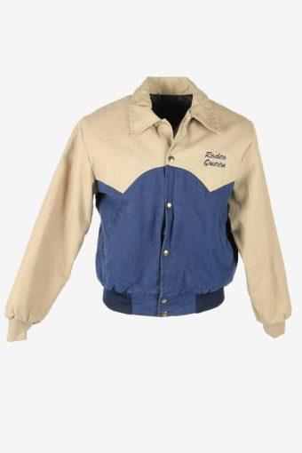 Vintage Bomber Jacket Lined Pockets Printed 90s Retro Multi Size S