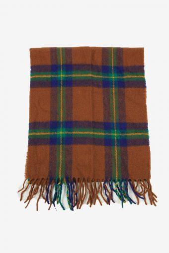 Vintage Check Tartan Scarf Winter Warm Neck Soft  90s Retro Brown