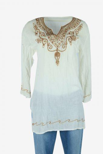 Vintage Embroidered Blouse Cotton Hippie Gypsy Top Kaftan White Size M