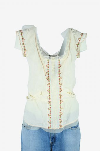 Vintage Embroidered Blouse Hippie Gypsy Tunic Top 90s White Size L