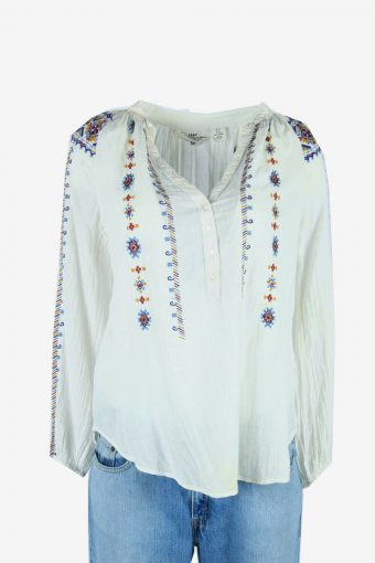Vintage Embroidered Blouse Hippie Gypsy Tunic Top 90s White Size M