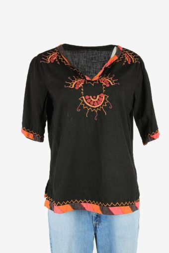 Vintage Embroidered Hippie Gypsy Blouse Tunic Top Kaftan Black Size L
