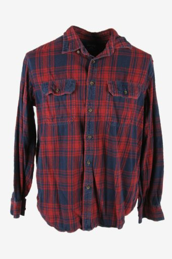 Vintage Flannel Shirt Check Long Sleeve Button 90s Cotton Multi Size L – SH4251