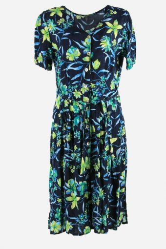 Vintage Flowers Print Short Sleeve Dress 90s Midi Button Up Multi Size XL