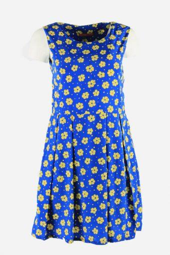 Vintage Flowers Print Sleeveless Dress Fit & Flare Women Blue Size M