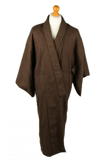 Vintage Full Length Kimono Robe Traditional Japanese Gown Brown